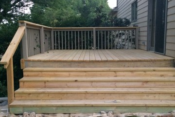 Prepping the deck for two coats of colored stain !!!!!!!!!!!